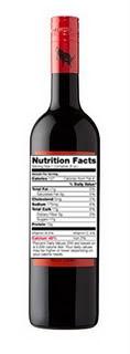 Wine Nutrition Label